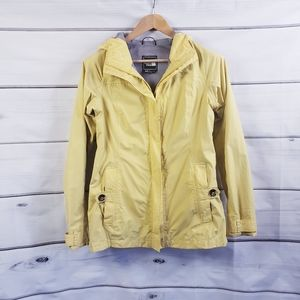 The North Face Yellow Lightweight Rain Jacket Hiking Camping Active Hooded